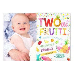 Twotti Frutti 2nd Girl Birthday Custom Photo Invitation