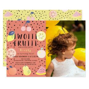 Twotti Frutti Fruit Orange Photo 2nd Birthday Invitation
