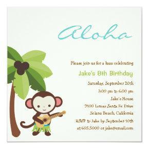 Ukulele Monkey Luau Party Invitations