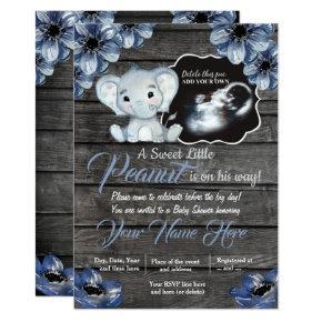 Ultrasound Elephant Baby Shower Invitation, rustic Invitation