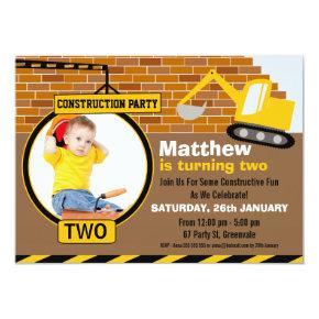 Under Construction Birthday Party Invitation