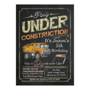 Under Construction Dump Truck Birthday Invitations