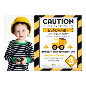 Under Construction Photo Birthday Invitation