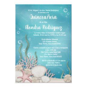 Under the Sea (Bajo el mar) Quinceañera Invitation