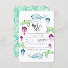 Under The Sea Birthday | Ocean Animals Watercolor Invitation