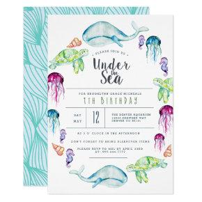 Under The Sea Birthday | Ocean Critter Watercolor Invitation