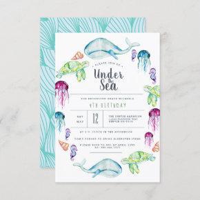 Under The Sea Birthday | Ocean Critter Watercolor Invitation