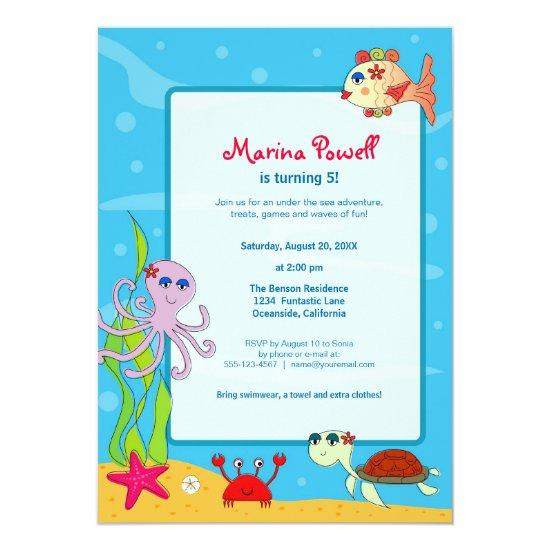 under the sea birthday party invitations candied clouds