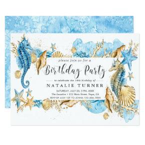Under the Sea Blue Gold Birthday Party Invitation