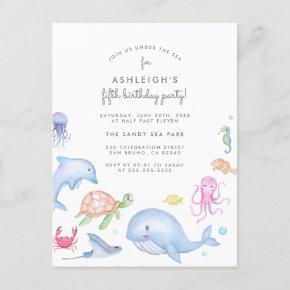 Under The Sea | Cute Nautical Boys Birthday Party Invitation Post