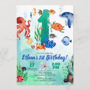 Under The Sea Invitation for 1st Birthday