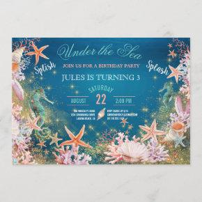 Under The Sea Magical Seahorse Kids Birthday Party Invitation