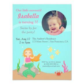 Under the Sea,Mermaid Girl Birthday Party Photo Invitations