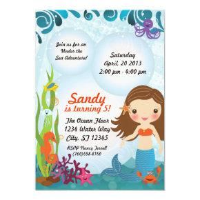 Under The Sea Mermaid Invitation - Brown