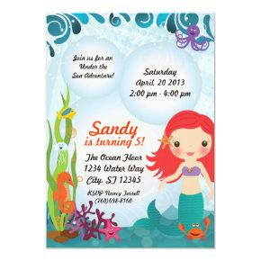 Under The Sea Mermaid Invitations - Red