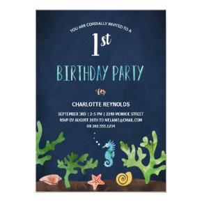 Under the Sea | Nautical 1st Birthday Party Invitations