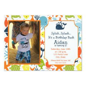 Under the Sea, Nautical with photo Birthday Invitations