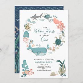 Under the Sea Ocean Animals 1st Birthday Script Invitation