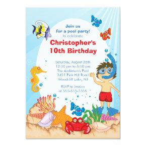 Under the Sea Pool Party Birthday Invitations boy