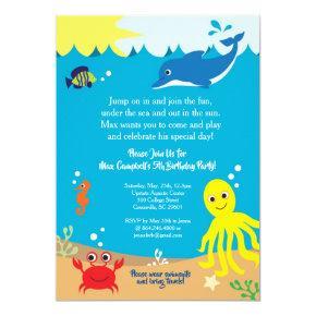 Under the Sea, Sea Life Birthday Invitation
