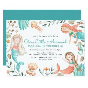 Under The Sea Watercolor Mermaid Birthday Party Invitation