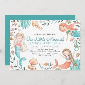 Under The Sea Watercolor Mermaid Birthday Party Invitation
