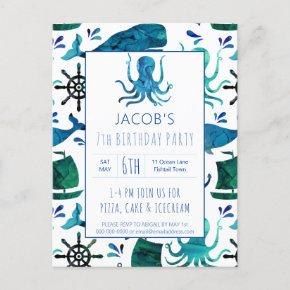 Under The Sea Watercolor Octopus Birthday Nautical Invitation Post