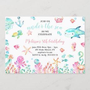 Under the Sea Watercolor Summer Girl Birthday Invitation