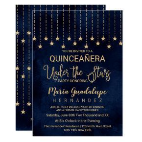 Under the Stars Navy Blue Gold Sparkle Quinceañera Invitation