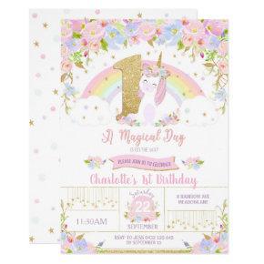 Unicorn 1st Birthday Invitations Floral Rainbow