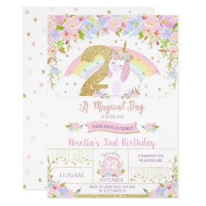 Unicorn 2nd Birthday Invitation Floral Rainbow