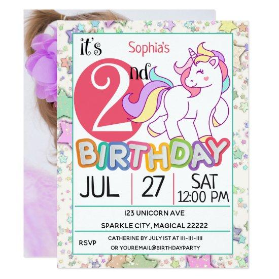 Unicorn 2nd Birthday Party Invitation Candied Clouds