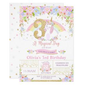 Unicorn 3rd Birthday Invitation Floral Rainbow