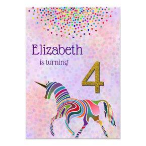 Unicorn 4th Birthday Invitation Glitter Confetti