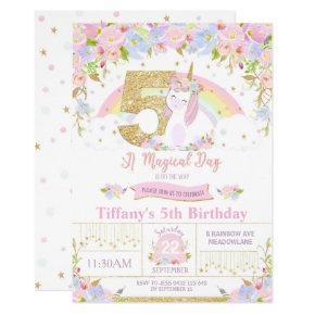 Unicorn 5th Birthday Invitation Floral Rainbow