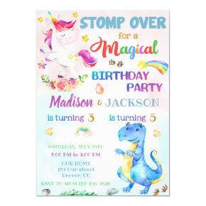 Unicorn and Dinosaur birthday invitation for twins