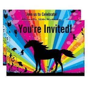 Unicorn and Fairies Rainbow Fairy Birthday Invite
