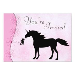 Unicorn and Fairy Silhouette Birthday Invitation