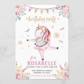 Unicorn Ballerina Pink Floral Birthday Party Invitation