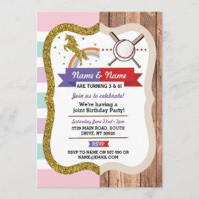 Unicorn & Baseball Joint Boy Girl Birthday Sports Invitation