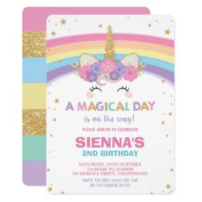 Unicorn Birthday Invitation 1st Birthday Party