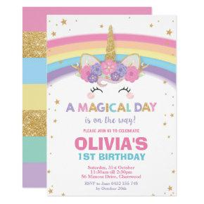 Unicorn Birthday Invitation 1st Birthday Party