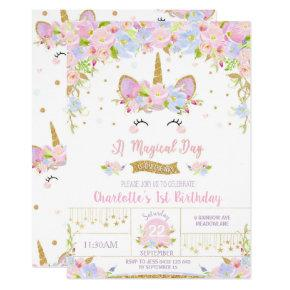 Unicorn Birthday Invitation Cute Floral Girls