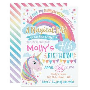 Unicorn Birthday Invitations Magical Rainbow Invite