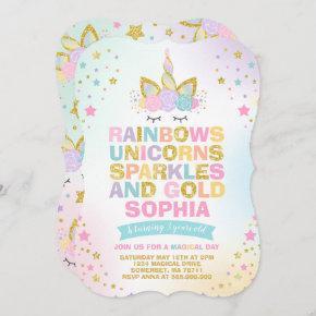 Unicorn Birthday Invitation Magical Unicorn Party