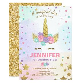 Unicorn Birthday Invitations Pink Gold Magical
