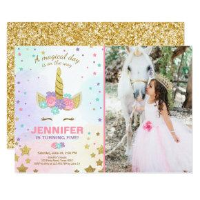 Unicorn Birthday Invitations Pink Gold Magical