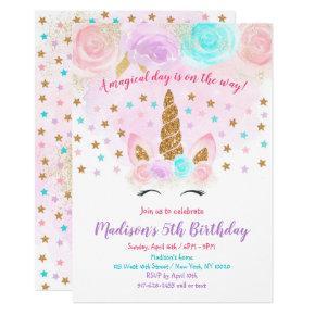 Unicorn Birthday Invitation Pink Gold Magical