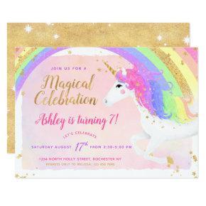 Unicorn Birthday Invitation   Pink Gold Rainbow