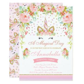 Unicorn Birthday Invitations Pink Gold Unicorn